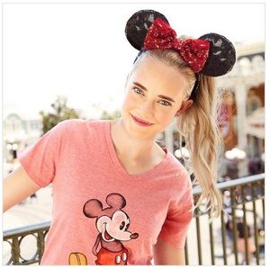 NWT Disney Minnie Mouse Red & Black Sequin Ears